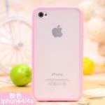 iPhone4/4s เคสแข็งขอบซิลิโคนสีชมพู