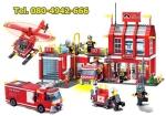 LEGO china ชุดตัวต่อ สถานีตำรวจดับเพลิง ศูนย์บัญชาการ รถดับเพลิง เฮลิคอปเตอร์ ชุ