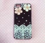 เคสไอโฟน 5 5s ดอกไม้ประดับมุก สีดำ