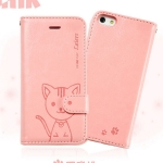 เคสไอโฟน 6 พลัส เคสฝาพับ Domicat สีชมพูอ่อน
