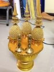 เครื่องทองน้อยพุ่มผ้า พาน 18 ซม. เชิงเทียนทองเหลือง พร้อมธูปเทียน