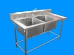 ซิงค์ล้างจานสแตนเลส 2หลุม มีที่พัก ST2-150B