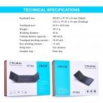 OKER Keyboard Bluetoothพับได้ / มีTouch Pad ในตัว ใช้แทนเมาส์ รุ่น BT-033 (สีดำ)