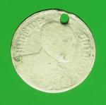 21130 เหรียญกษาปณ์ในหลวงรัชกาลที่ 6 ปี 2458 ราคาหน้าเหรียญ สลึงหนึ่ง เนื้อเงิน 5
