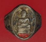 23563 แหวนพระพุทธโสธร ฐานเขียง  ลงยาสีแดง ปี 2503 เนื้อเงิน  ท้องวงขาด(สามารถทำว